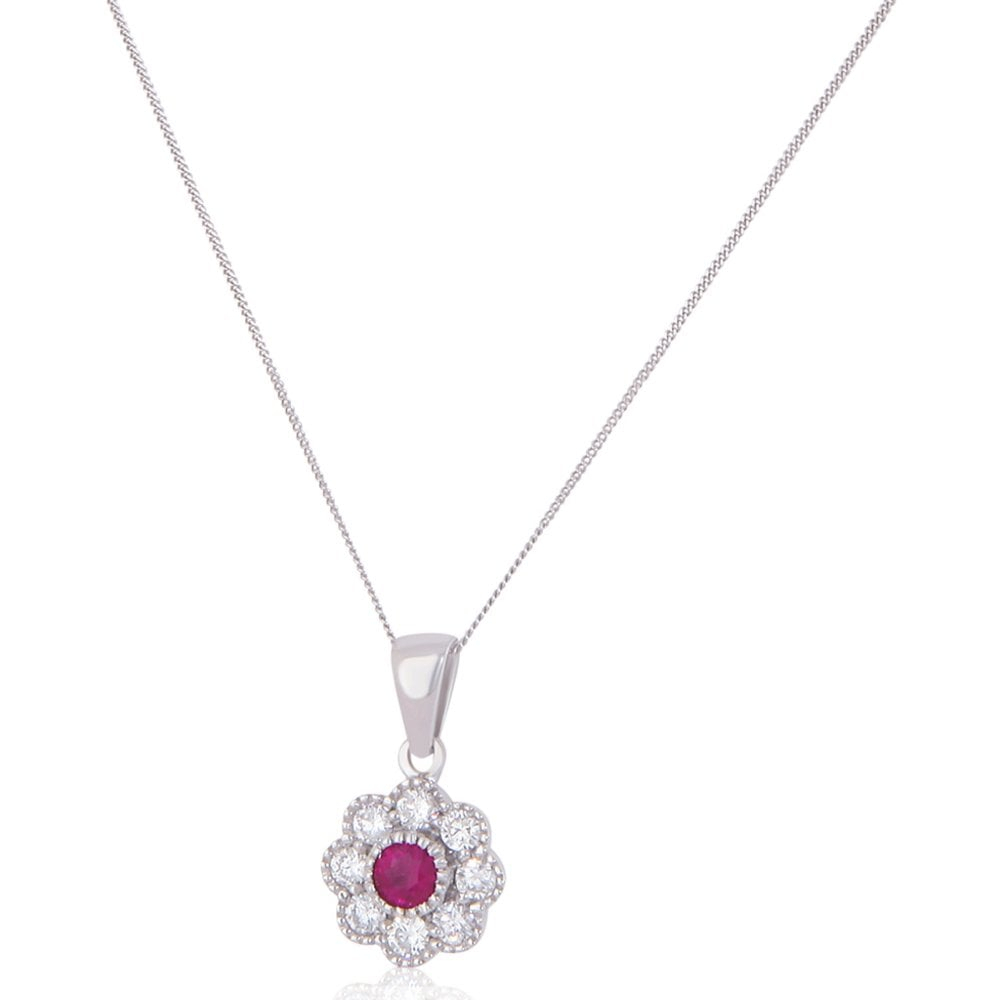 New 18Ct White Gold Ruby & Diamond Cluster Pendant & Necklace Inside 2019 Ruby And Diamond Cluster Necklaces (Gallery 11 of 25)