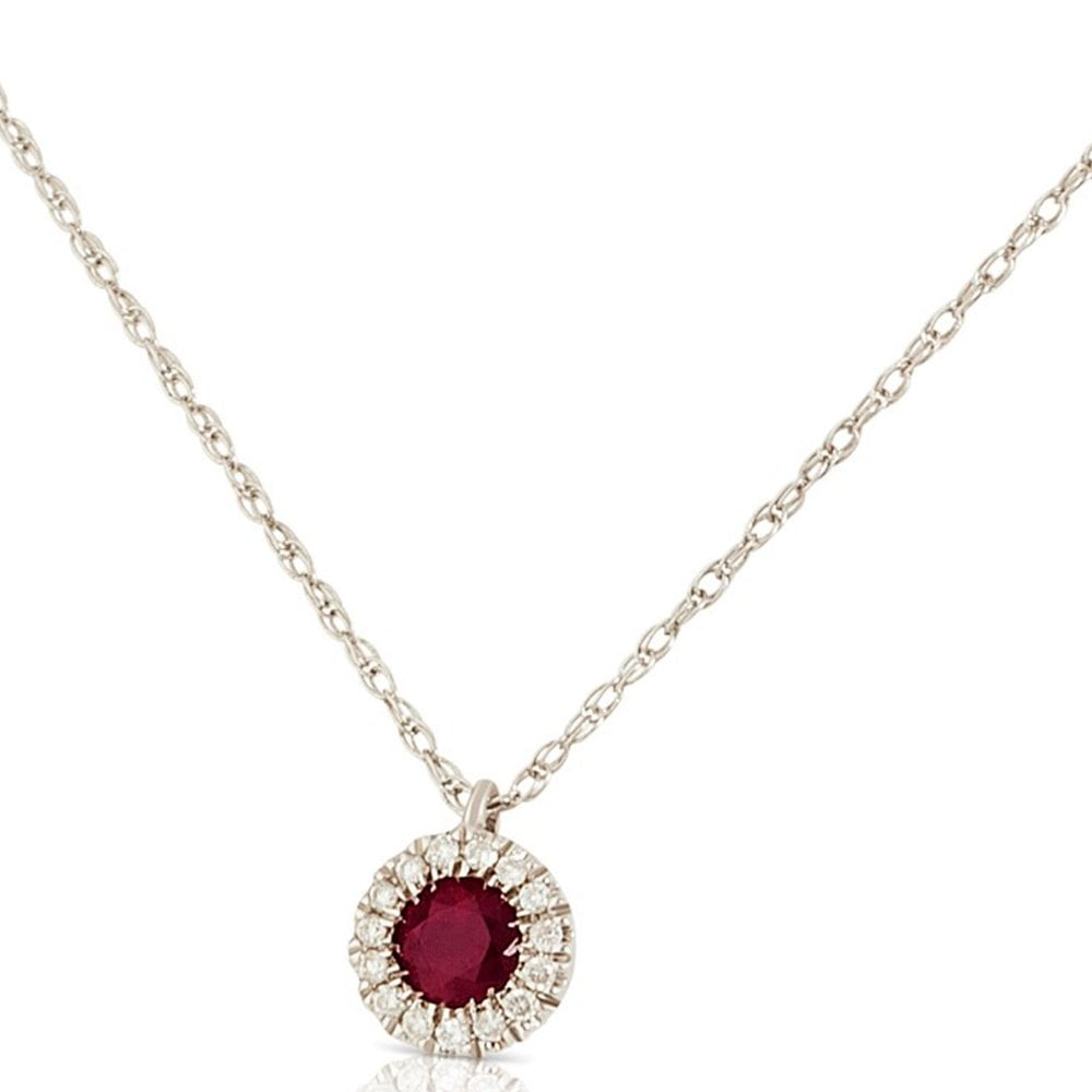 New 9Ct White Gold Ruby & Diamond Cluster Pendant Necklace In Most Current Ruby And Diamond Cluster Necklaces (View 16 of 25)