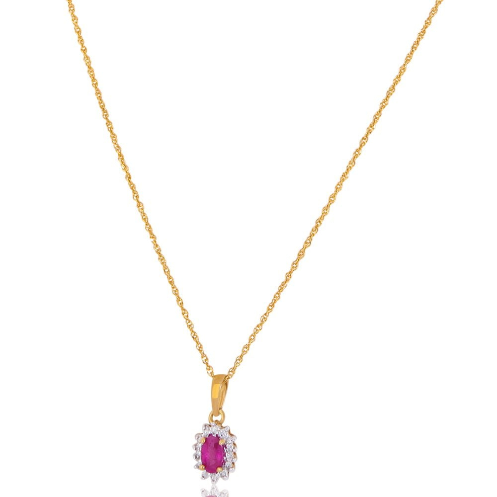 New 9Ct Yellow Gold Ruby & Diamond Cluster Pendant & Necklace Throughout Most Recently Released Ruby And Diamond Cluster Necklaces (View 17 of 25)