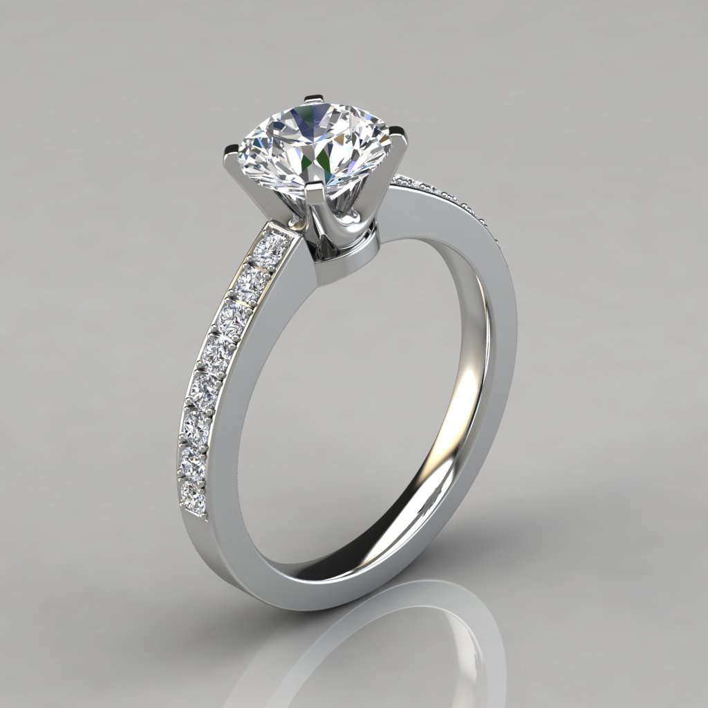 Novo Design Round Cut Engagement Ring – Puregemsjewels Within Round Brilliant Diamond Engagement Rings (View 14 of 25)