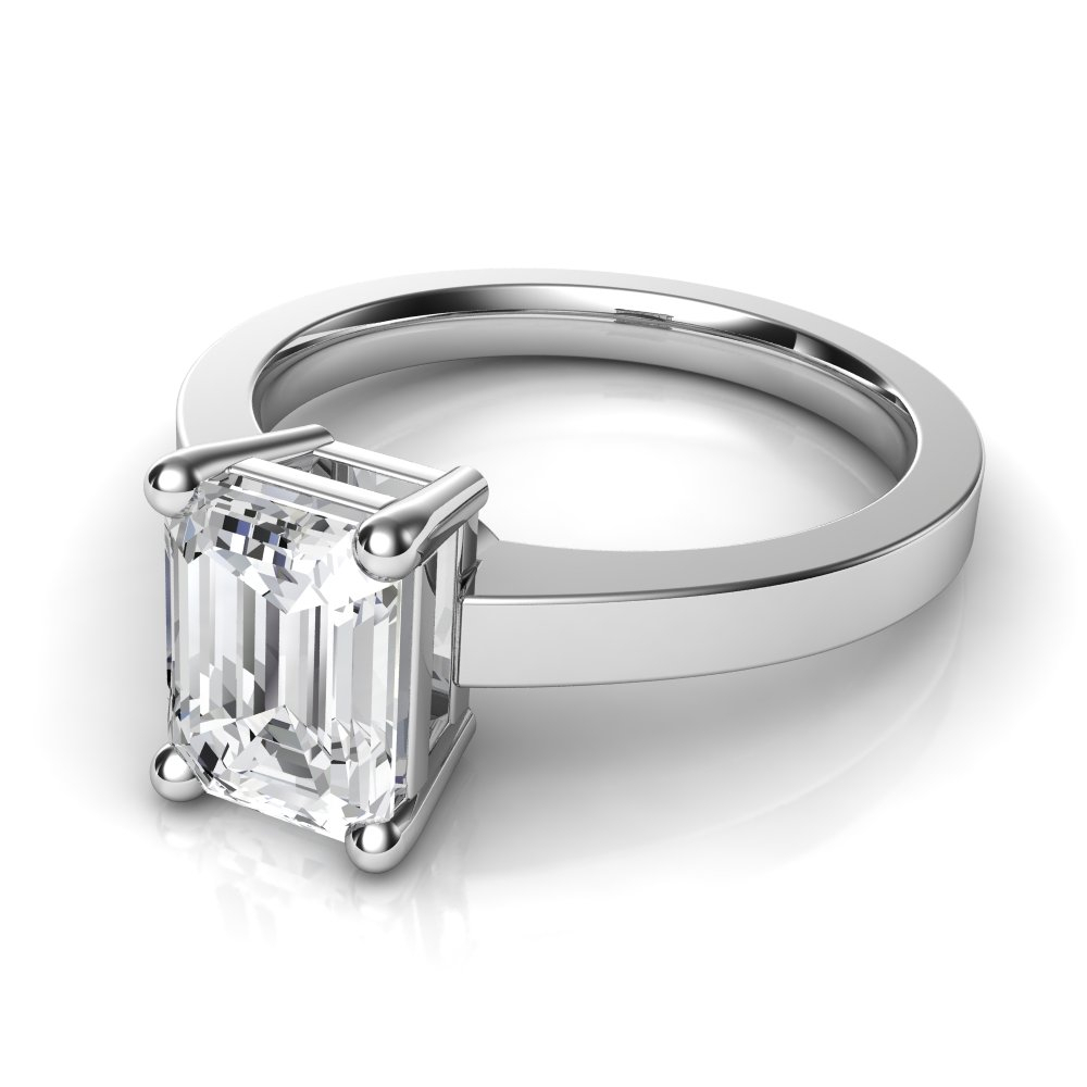Novo Emerald Cut Solitaire Diamond Engagement Ring With Solitaire Emerald Cut Engagement Rings (View 13 of 25)