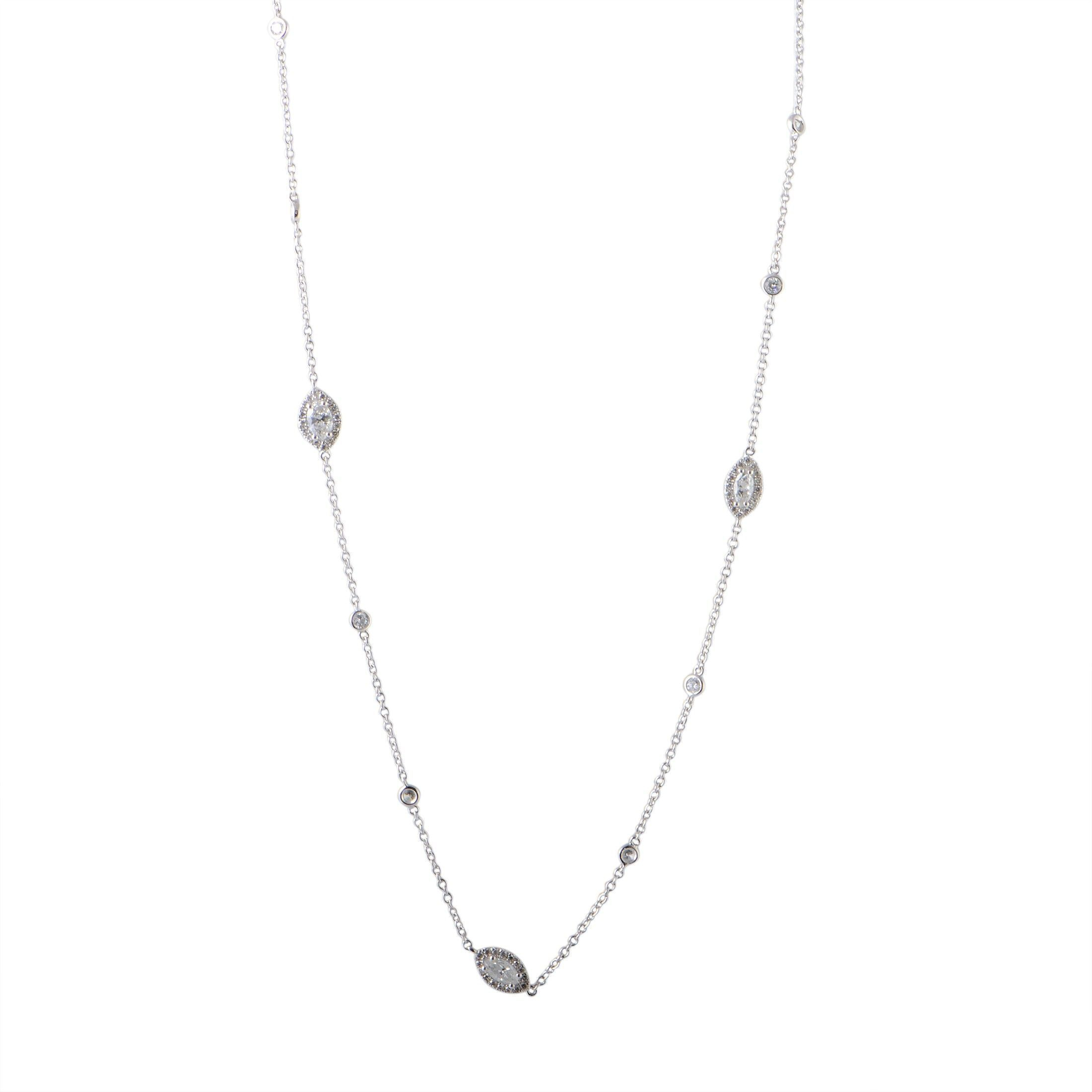 Odelia 18K White Gold Round And Marquise Diamond Long For Most Popular White Gold Diamond Sautoir Necklaces (Gallery 13 of 25)