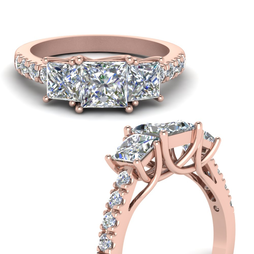 One Carat Diamond Trellis 3 Stone Ring For Newest Princess Cut Single Diamond Wedding Bands In Rose Gold (View 16 of 25)