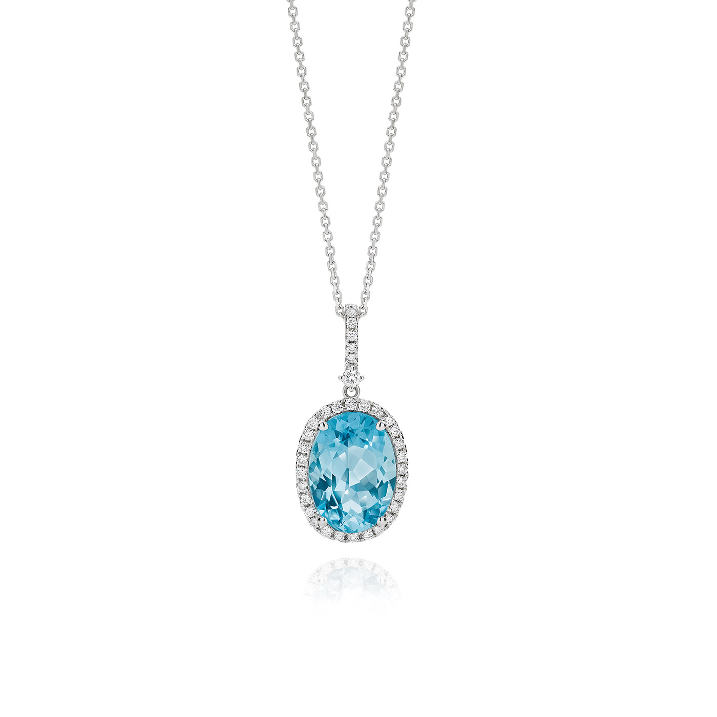Oval Aquamarine And White Diamond Pendant In Latest Sapphire, Aquamarine And Diamond Necklaces (Gallery 22 of 25)