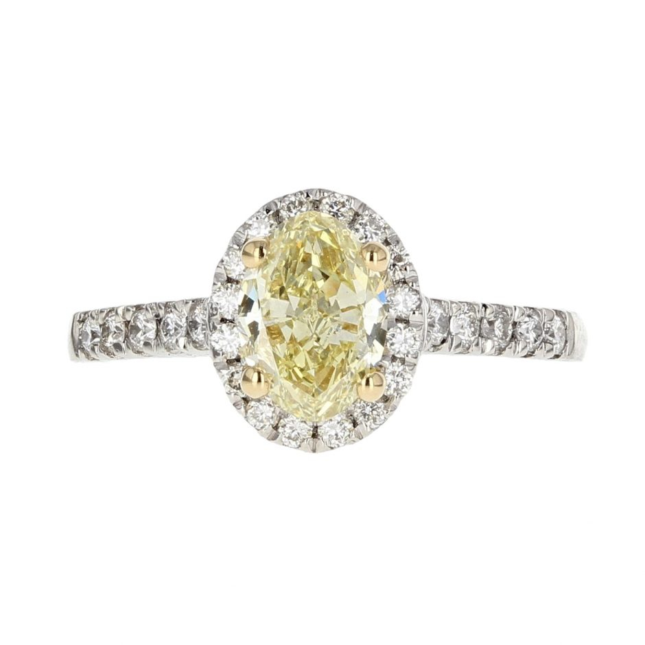 Oval Cut Fancy Yellow Diamond Ring 1.01Ct | Royal Exchange In Oval Shaped Yellow Diamond Rings (Gallery 25 of 25)