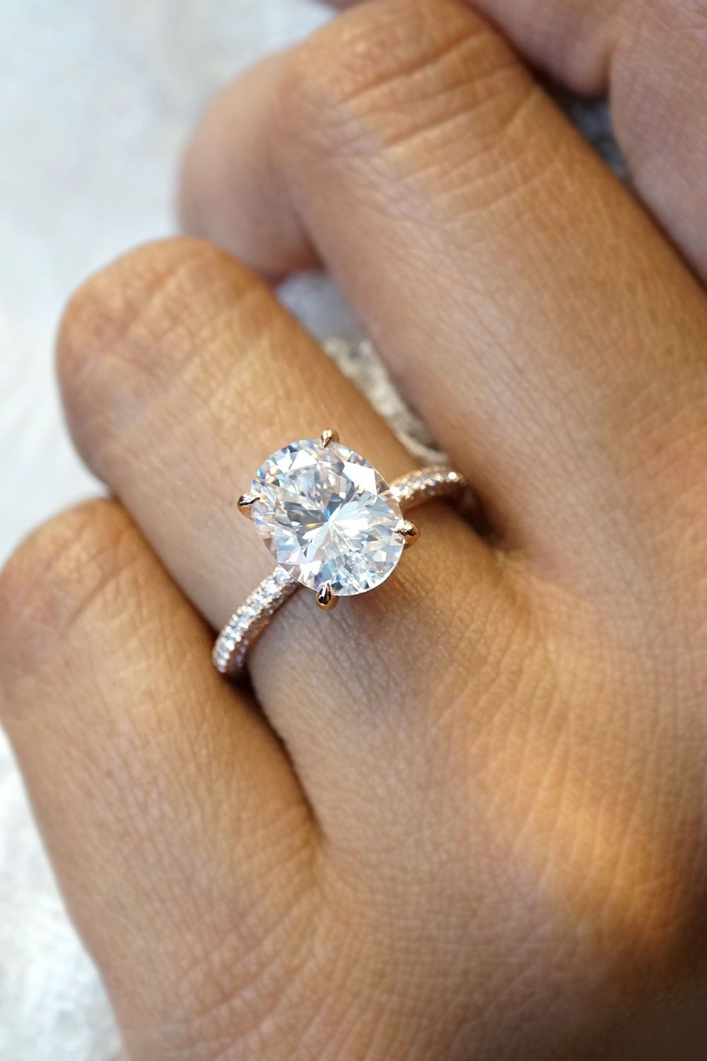 Oval Diamond Engagement Ring In 2019 | Oval Engagement Rings Intended For Newest Prong Set Oval Shaped Diamond Wedding Bands (View 5 of 25)