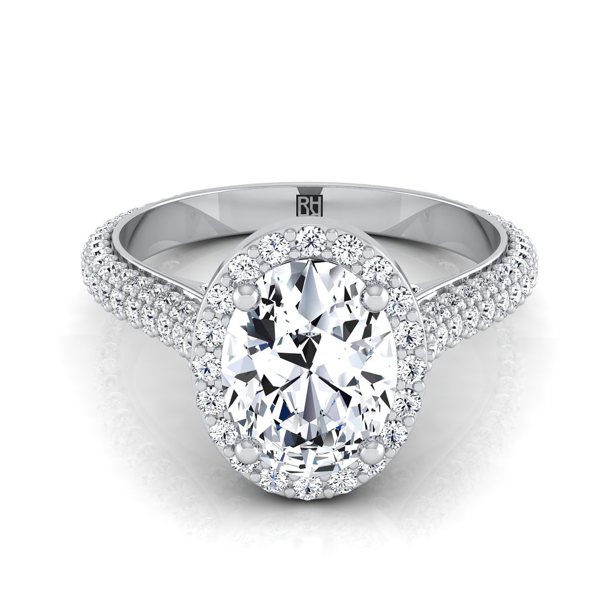 Oval Diamond Pave Engagement Ring With Triple Row Shank In Platinum (4/5 Ct.tw (View 3 of 25)