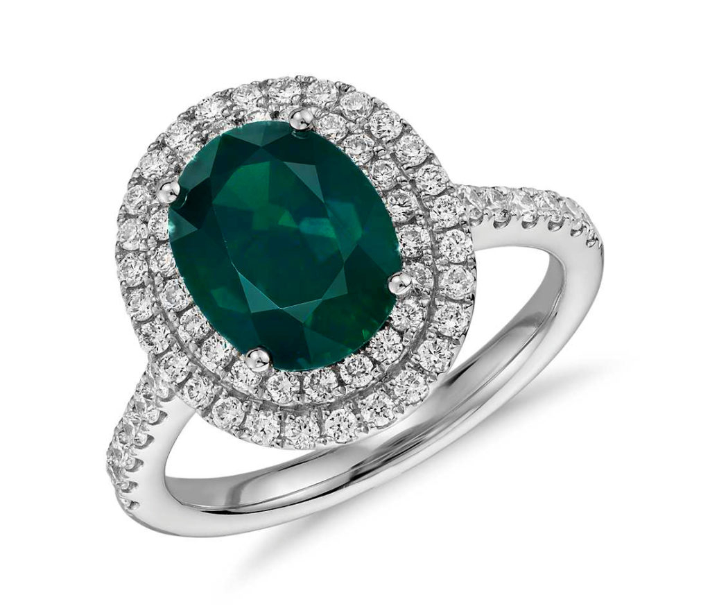 Oval Emerald And Diamond Double Halo Micropavé Ring In 18k White Gold – Tanary Jewelry For Oval Shaped Ruby Micropavé Rings (View 17 of 25)