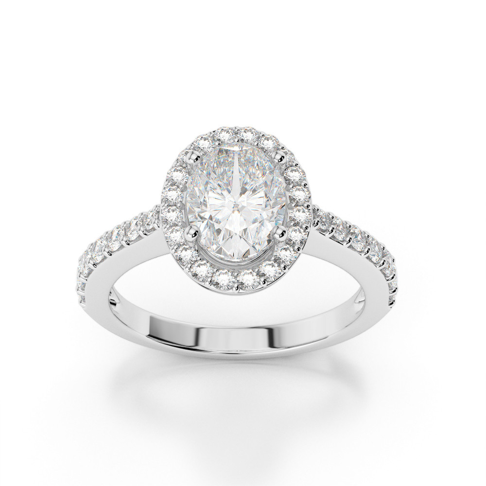 Oval Halo Diamond Prong Engagement Ring With Side Stones Pertaining To Most Recently Released Prong Set Oval Shaped Diamond Wedding Bands (Gallery 21 of 25)