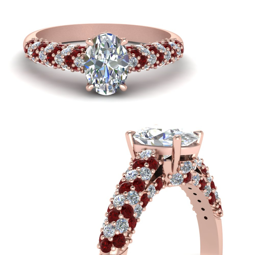 Oval Micropave Diamond Ring Pertaining To Oval Shaped Ruby Micropavé Rings (View 16 of 25)