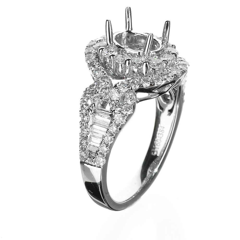Oval Shape 18 Karat White Gold Prong Set Halo Engagement Ring With  (View 17 of 25)