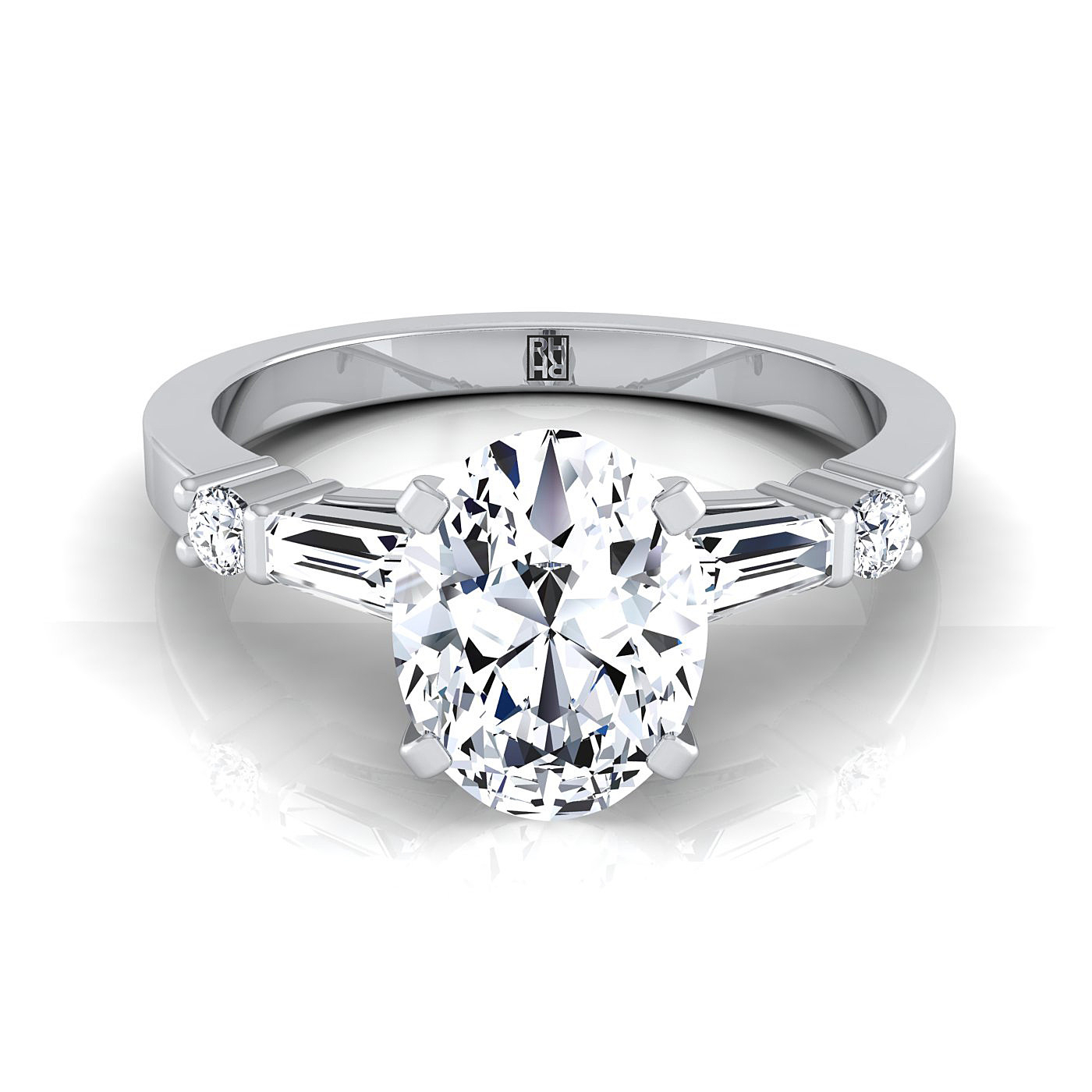 Oval Shape Diamond Engagement Ring With Tapered Baguette Sides And Round Prong Set Shoulders In 14k White Gold (1/4 Ct.tw (View 9 of 25)