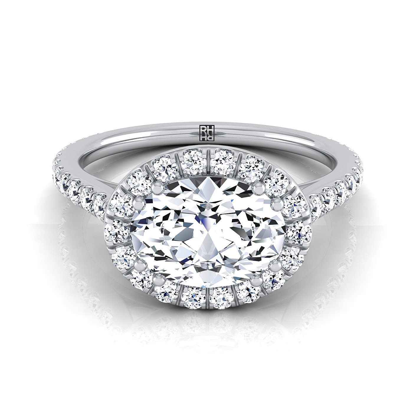 Oval Shape Diamond Halo Engagement Ring East West With Diamond Pave Shank  In Platinum (5/8 Ct.tw (View 19 of 25)