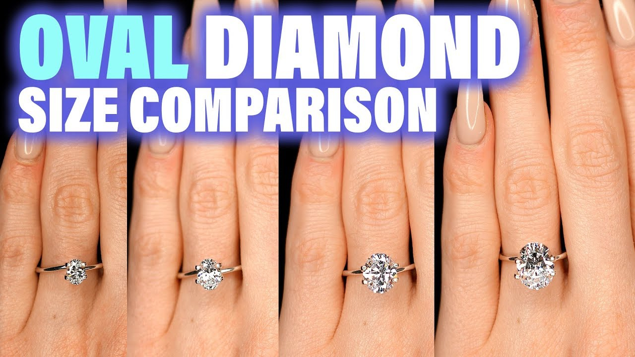 Oval Shaped Diamond Size Comparison On Hand Finger Engagement Ring Cut .75 Carat 2 Ct 1 3 4 1.5 (View 17 of 25)