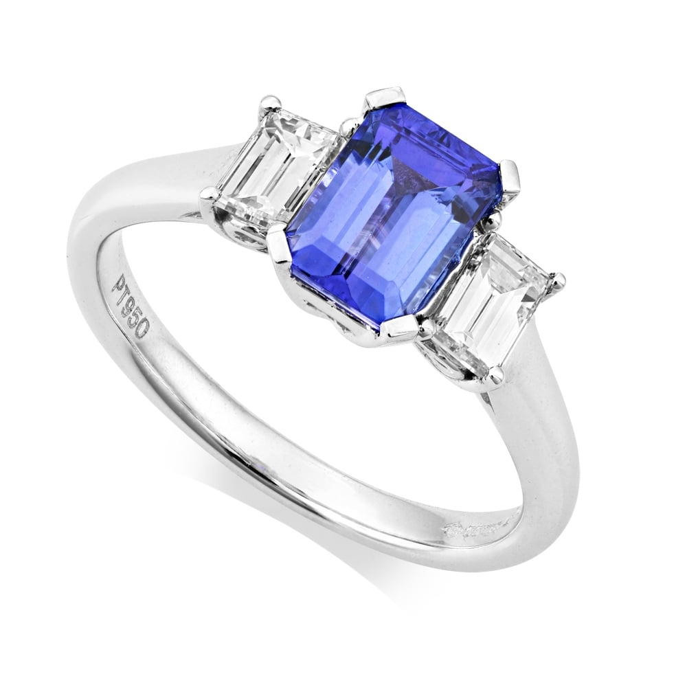 Owen & Robinson Platinum Tanzanite And Diamond Emerald Cut Three Stone Ring With Regard To Emerald And Diamond Three Stone Rings (View 19 of 25)