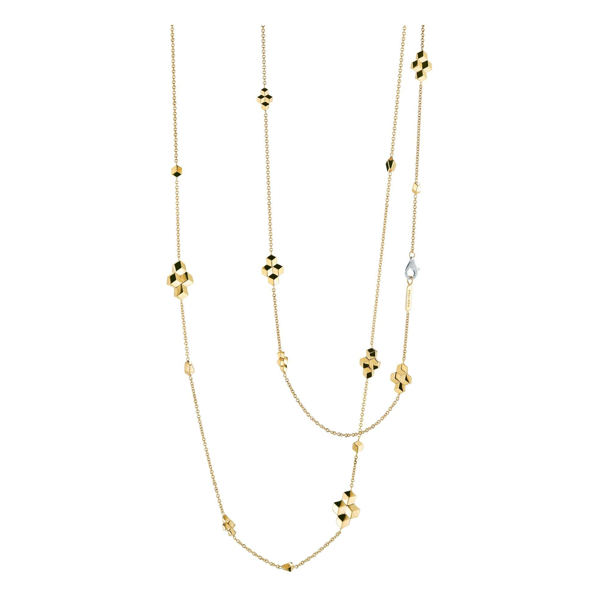"Paolo Costagli 18k Yellow Gold Sautoir Diamond Station 42"" Necklace With Current Yellow Gold Diamond Sautoir Necklaces (View 16 of 25)"