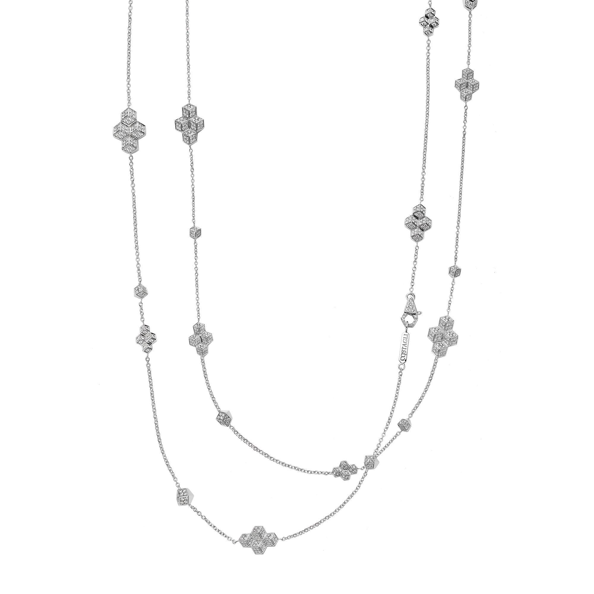 Paolo Costagli Brillante Collection 18k White Gold Brillante Sautoir  Necklace With Diamonds For Newest White Gold Diamond Sautoir Necklaces (View 6 of 25)