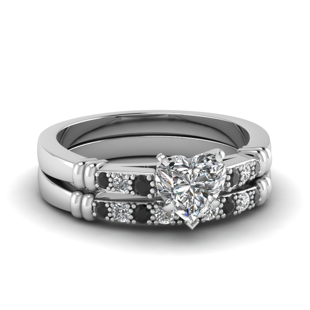 Pave Bar Set Wedding Set Within Current Prong Set Heart Shaped Diamond Wedding Bands (View 23 of 25)