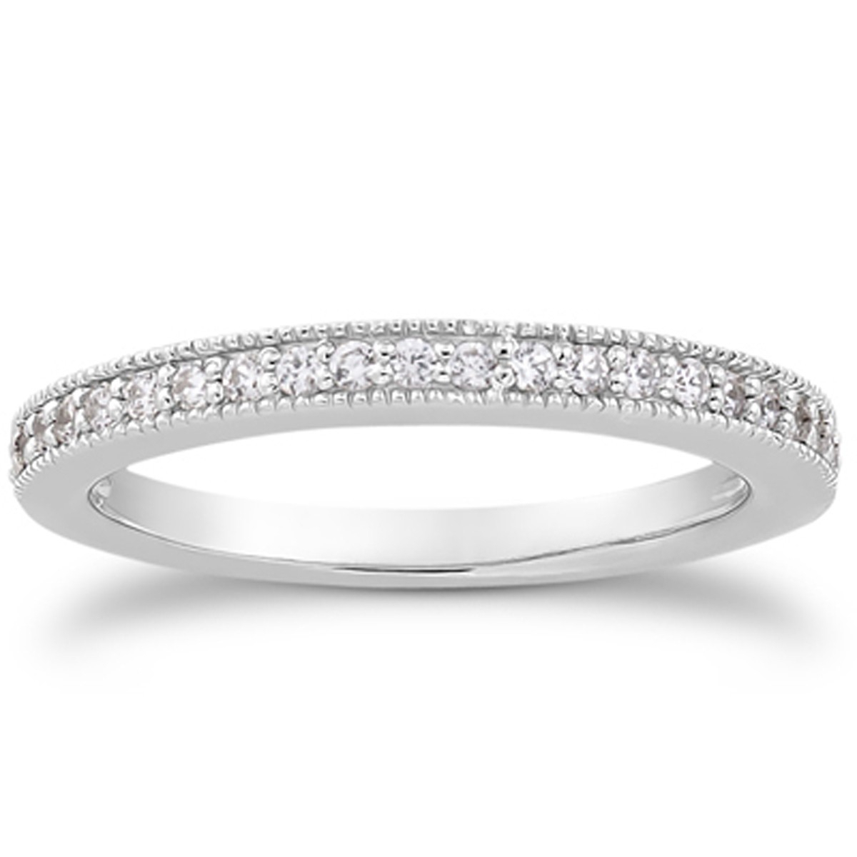 Pave Diamond Milgrain Wedding Ring Band In 14k White Gold In Most Recently Released Micropavé Diamond Narrow Wedding Bands (View 7 of 25)