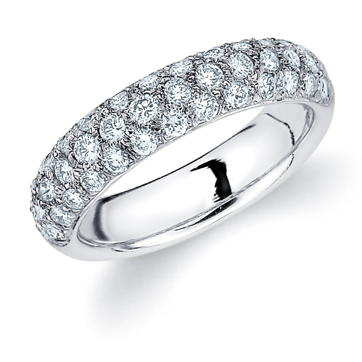 Pave Diamond Wedding Band | 3 Row Pave Ring Throughout Most Up To Date Triple Row Micropavé Diamond Wedding Bands (View 8 of 25)