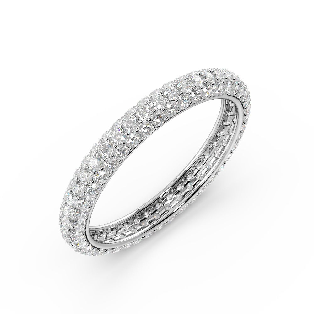 Pave Setting Round Shape Full Eternity Diamond Wedding Rings( (View 18 of 25)