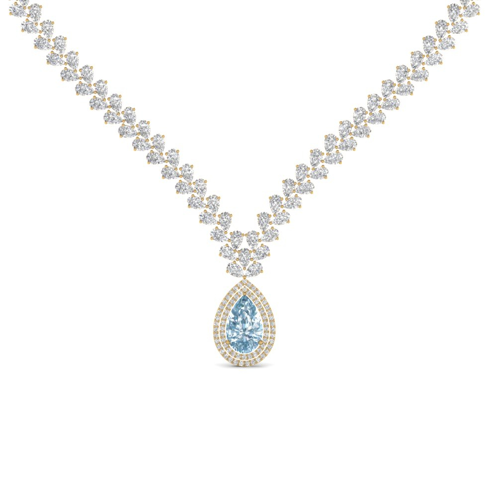 Pear Drop Leaf Diamond Necklace With Regard To Most Recently Released Diamond Necklaces In Yellow Gold (View 11 of 25)
