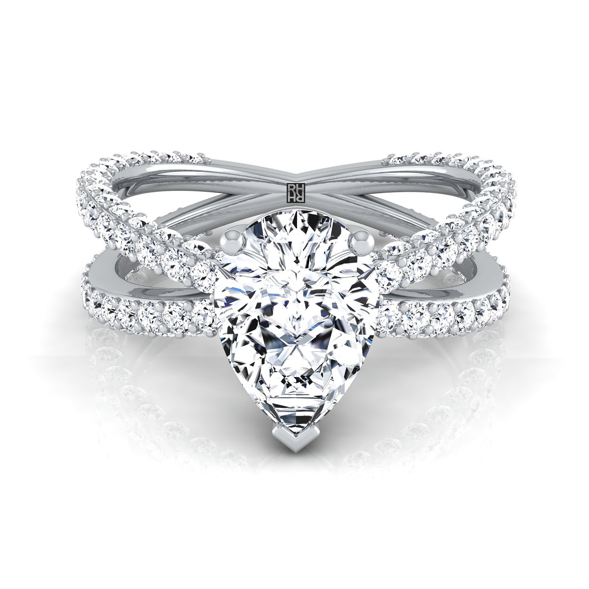 Pear Shape Diamond Engagement Ring With Crossover Pave Shank In 14k White Gold (1 1/4 Ct.wt (View 18 of 25)