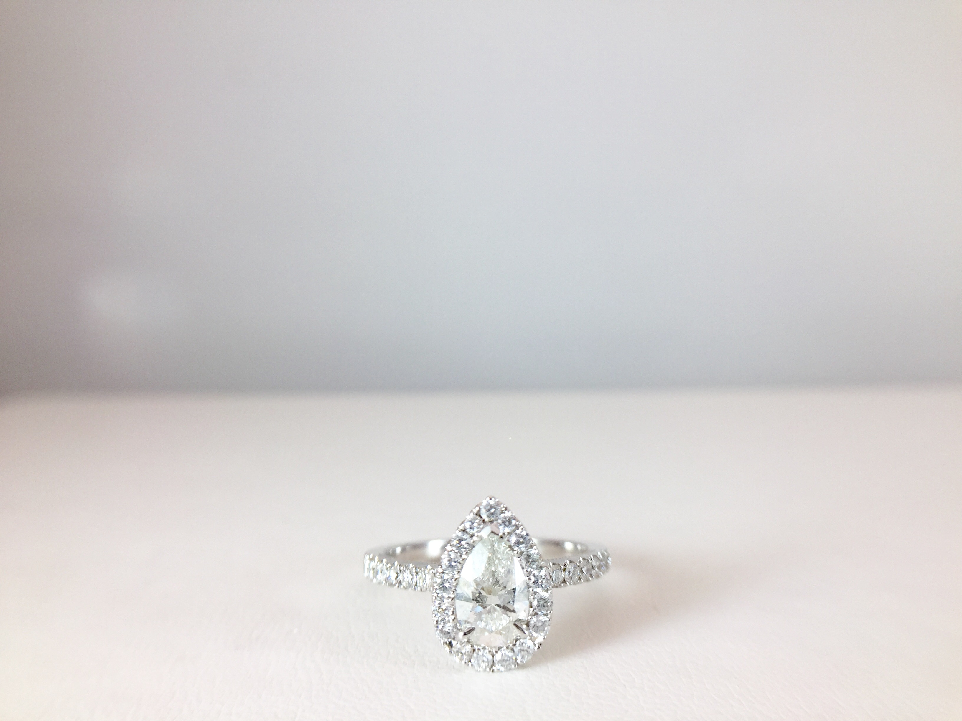 Pear Shape Diamond Ring With Halo | Bennion Jewelers With Tryst Pear Shaped Diamond Engagement Rings (Gallery 23 of 25)