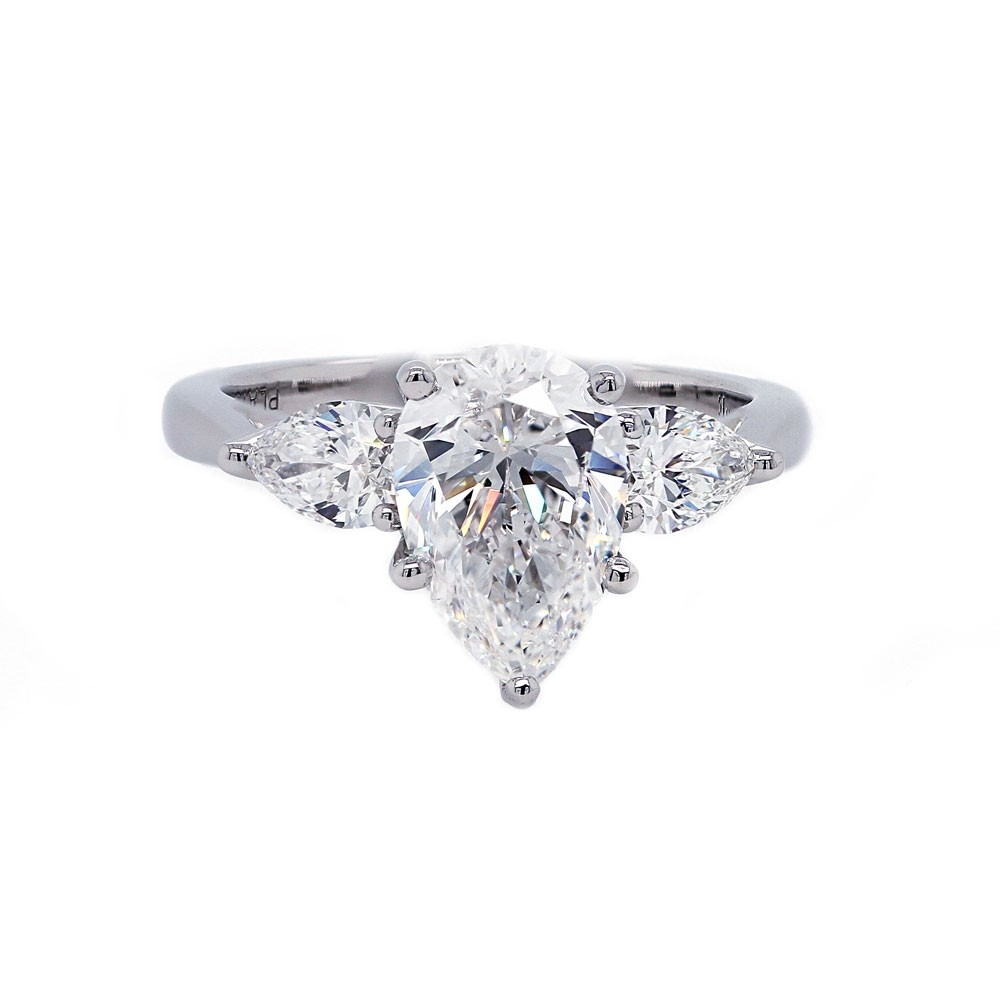 Pear Shaped Diamond Engagement Ring Three Stone Regarding Pear Shaped Engagement Rings (View 18 of 25)