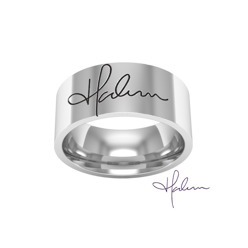 Personal Signature Engraved Band Ring In Silver Metal Within Most Recent Signature Bands Ring (View 9 of 25)