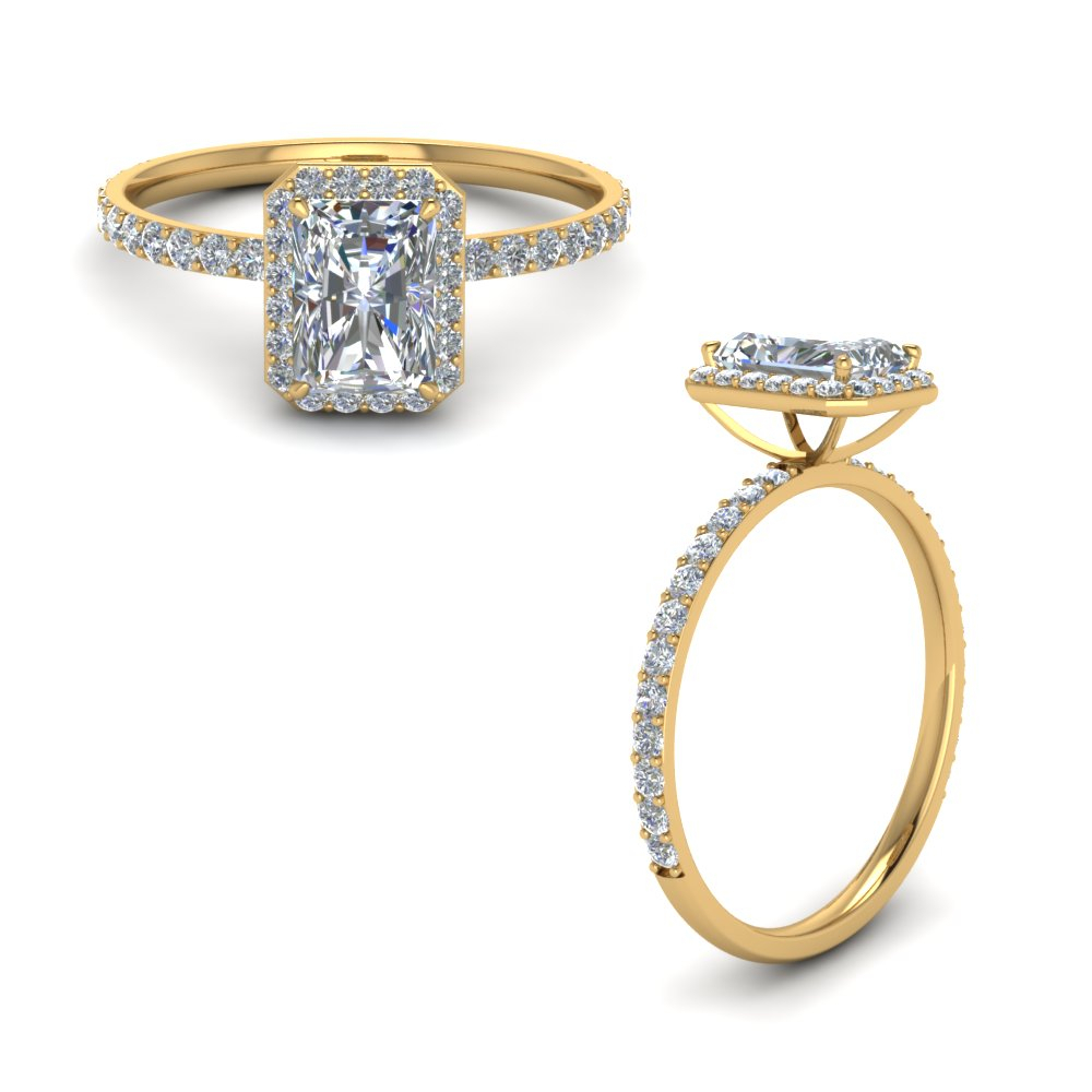 Petite Halo Diamond Ring For Women Throughout Radiant Yellow Diamond Rings (Gallery 25 of 25)