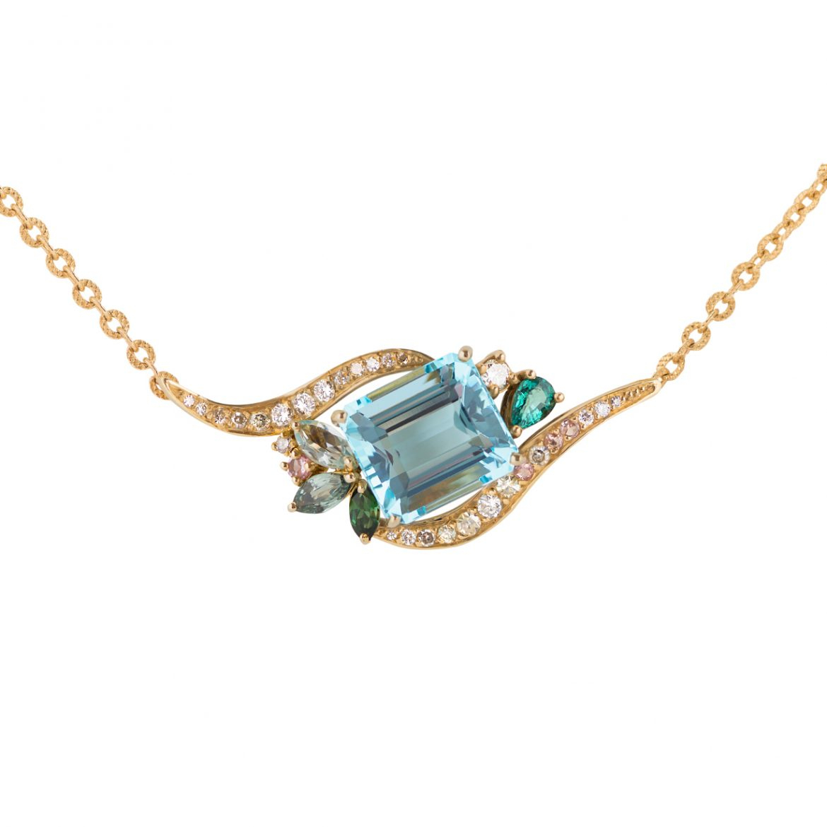 Phoenix Aquamarine Revive Pendant – Dalia Daou Jewellery London For Most Recent Sapphire, Aquamarine And Diamond Necklaces (View 19 of 25)