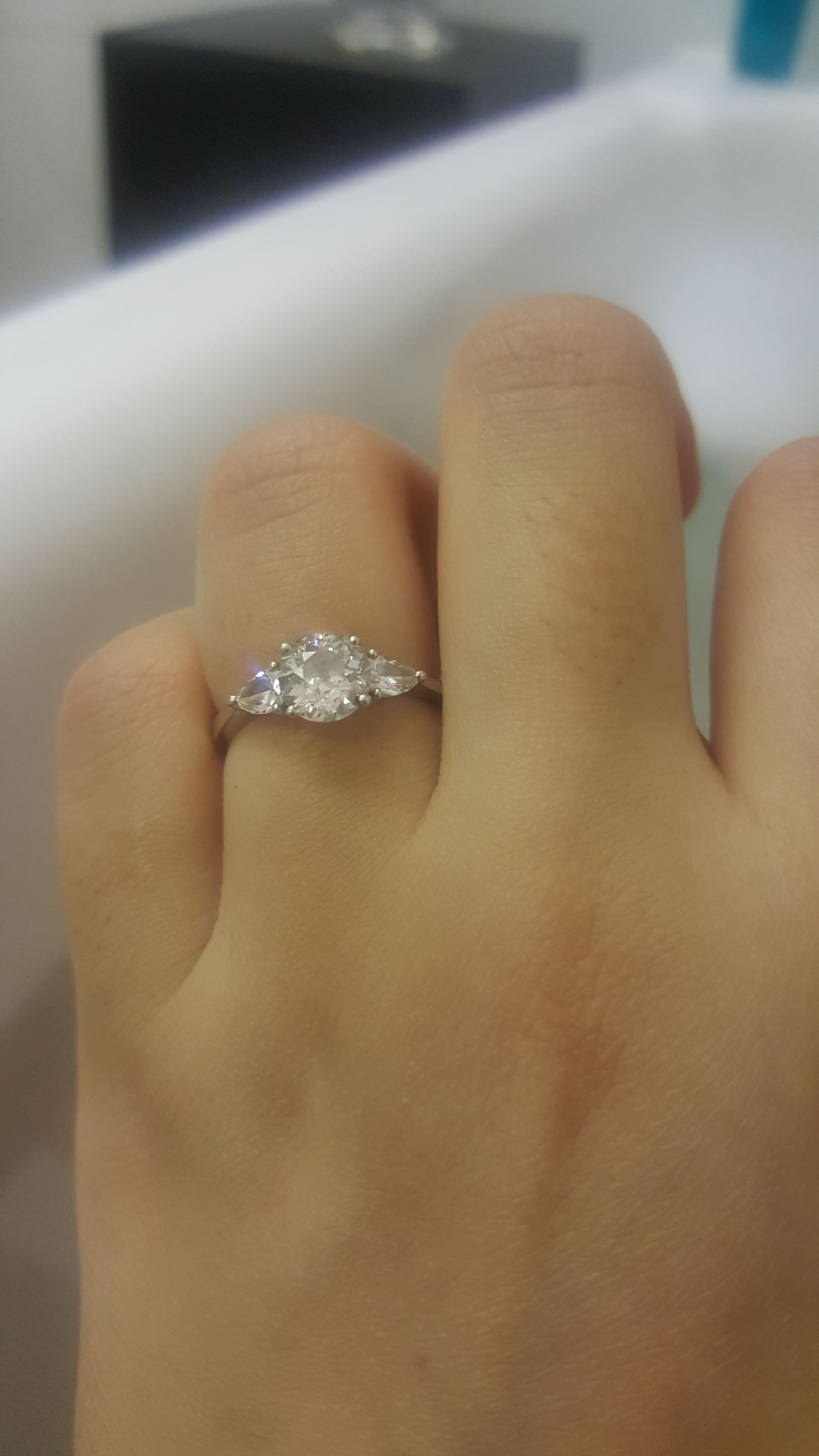 Photo) Round Brilliant With Pear Side Stones – What Wedding In Round Brilliant Engagement Rings With Pear Shaped Side Stones (View 8 of 25)