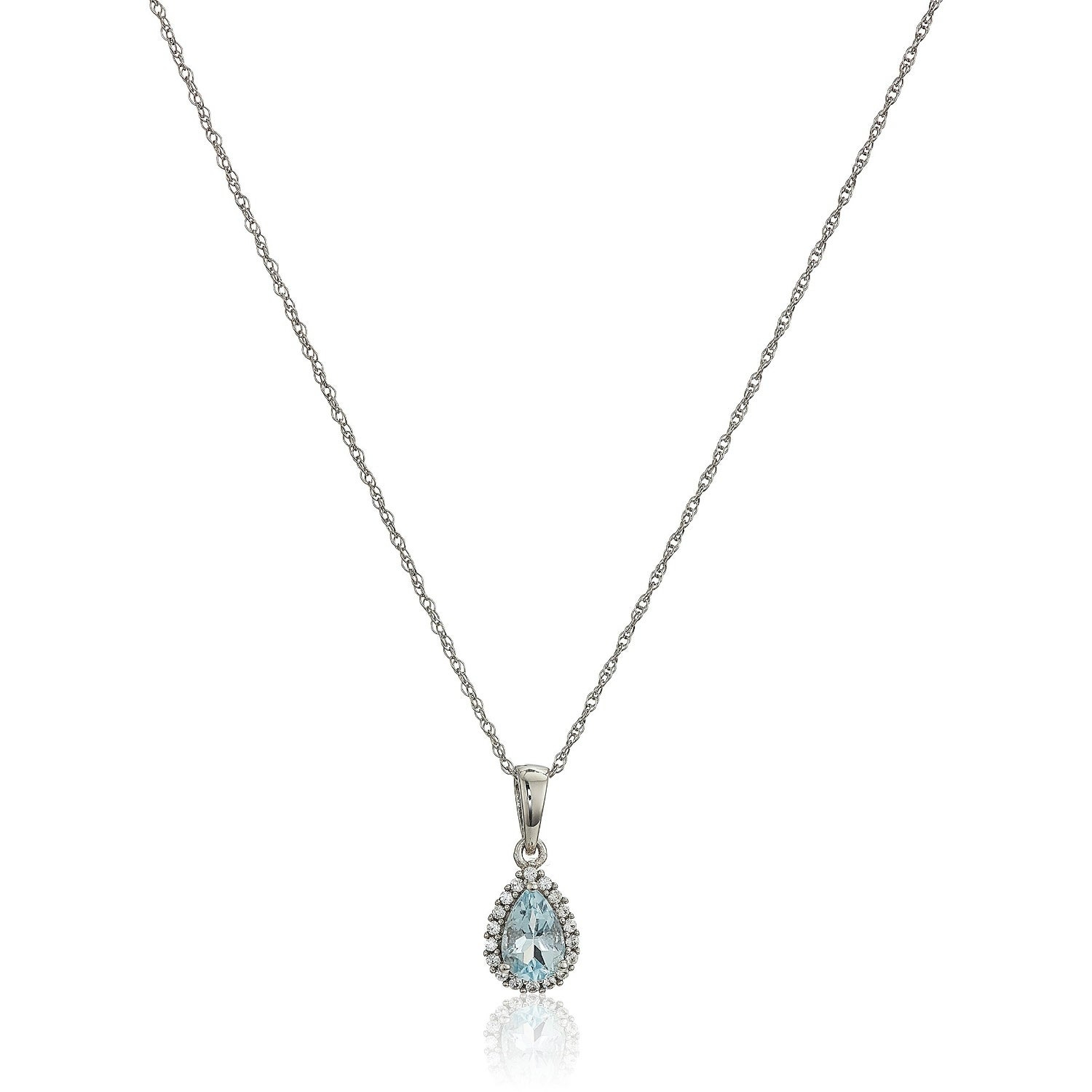 Pinctore 10K White Gold Aquamarine & Created White Sapphire Pendant  Necklace 18 In Most Recent Sapphire, Aquamarine And Diamond Necklaces (View 20 of 25)