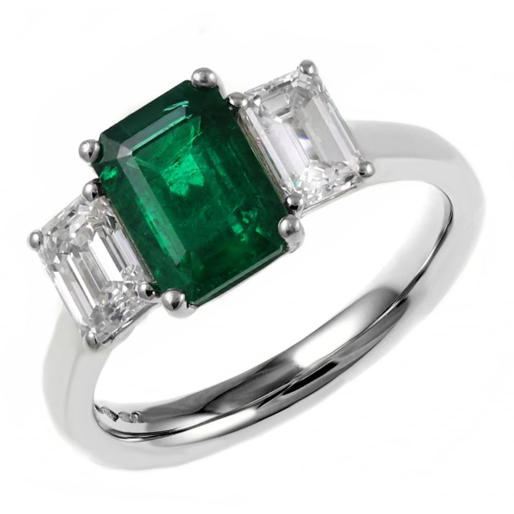 Platinum 1.02Ct Emerald &  (View 20 of 25)
