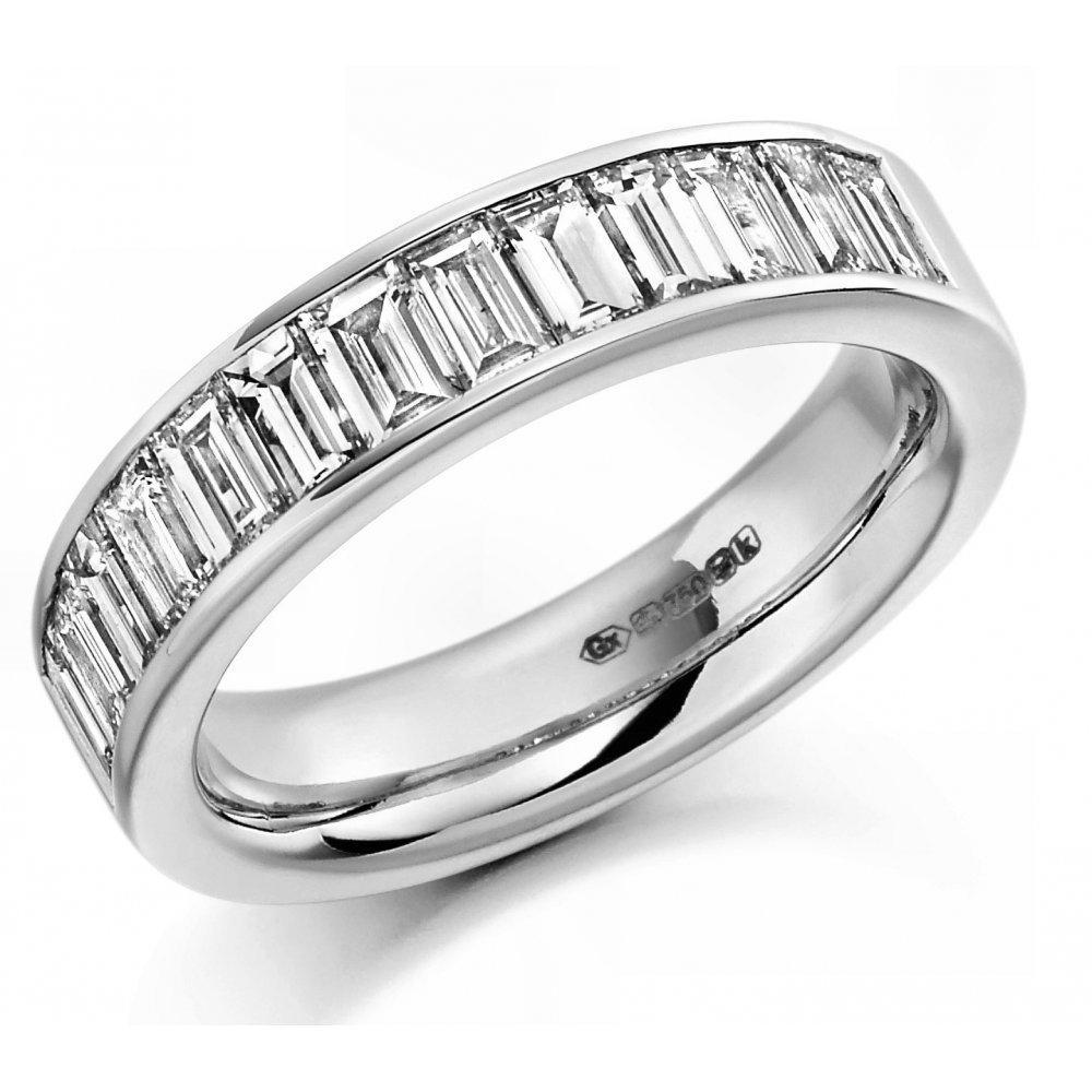 Platinum 1.50Ct Baguette Cut Diamond Half Eternity Ring Throughout Best And Newest Baguette Cut Single Diamond Wedding Bands (Gallery 16 of 25)