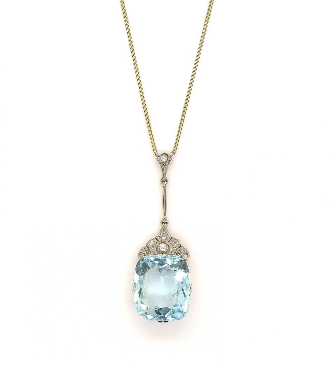 Platinum & 14Ct Yellow Gold 1920S Art Deco Aquamarine In Most Current Sapphire, Aquamarine And Diamond Necklaces (View 21 of 25)