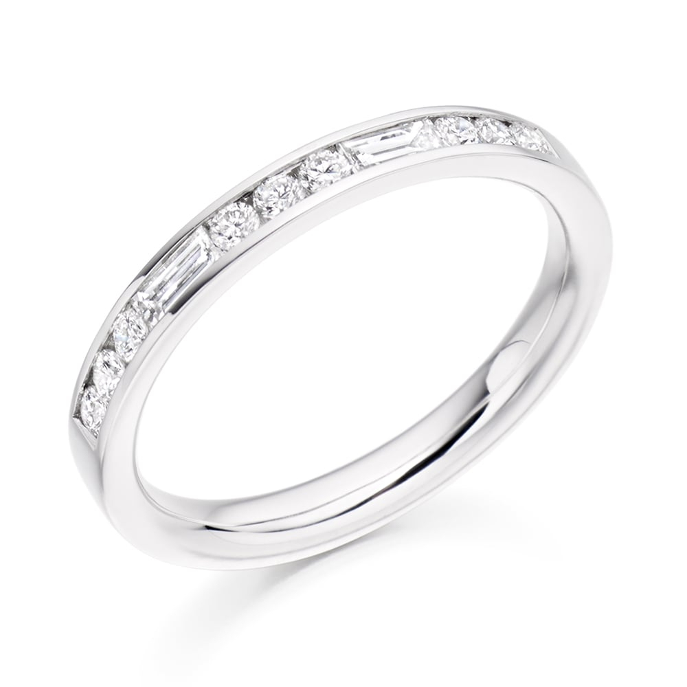 Platinum Baguette And Brilliant Cut Channel Set Half Eternity Ring Within Most Recent Channel Set Round Brilliant And Baguette Cut Diamond Wedding Bands (View 18 of 25)