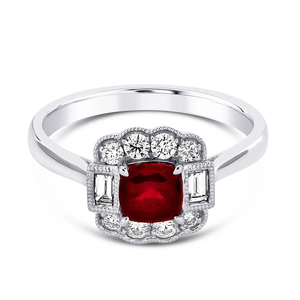 Platinum Cushion Cut Ruby & Diamond Set Surround Ring Pertaining To Cushion Cut Ruby Rings (View 22 of 25)