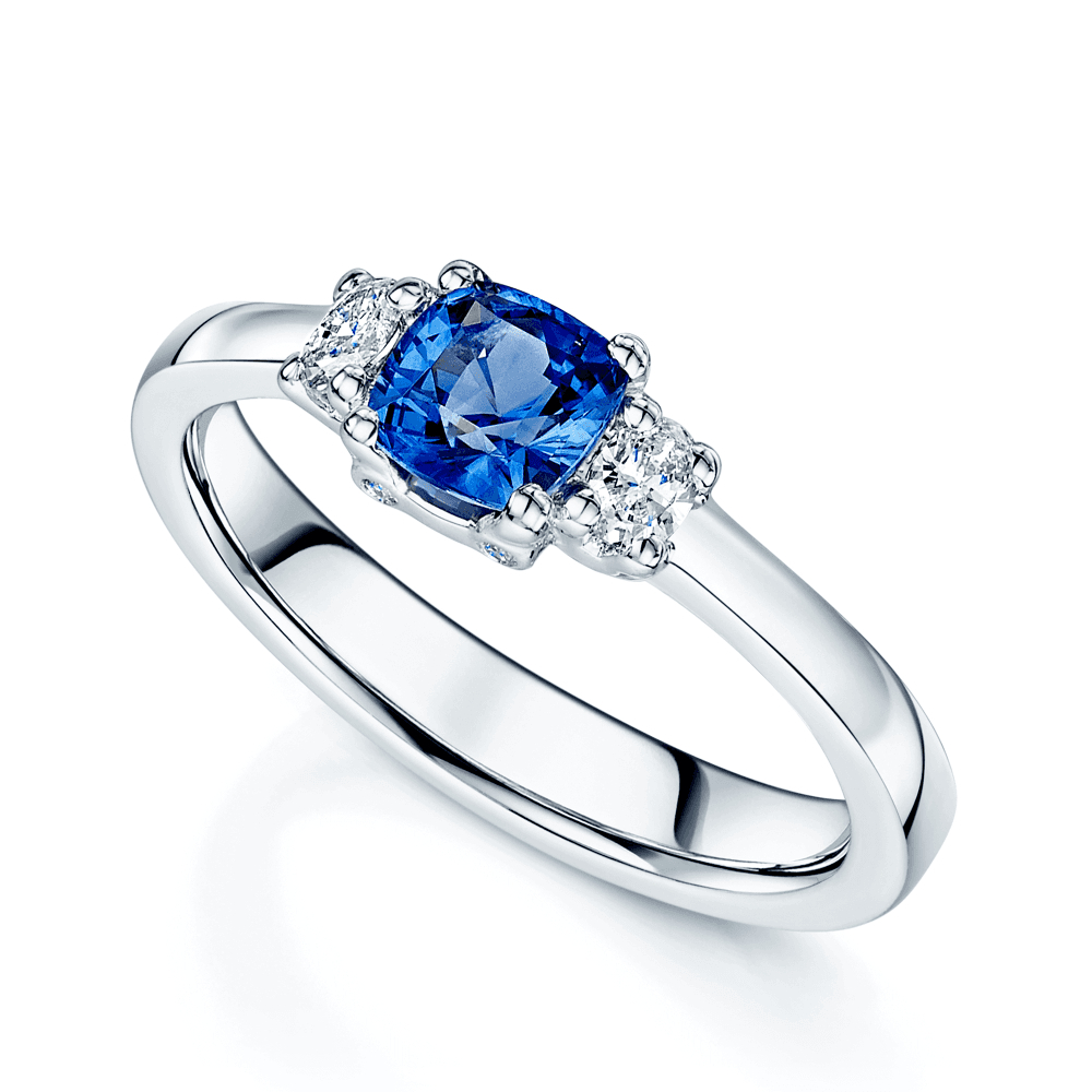 Platinum Cushion Cut Sapphire And Diamond Three Stone Ring For Cushion Cut Sapphire Rings (View 22 of 25)