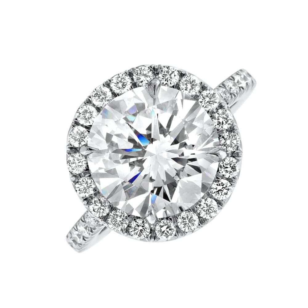 Platinum Engagement Ring Round Brilliant Cut Diamond With Center  (View 15 of 25)