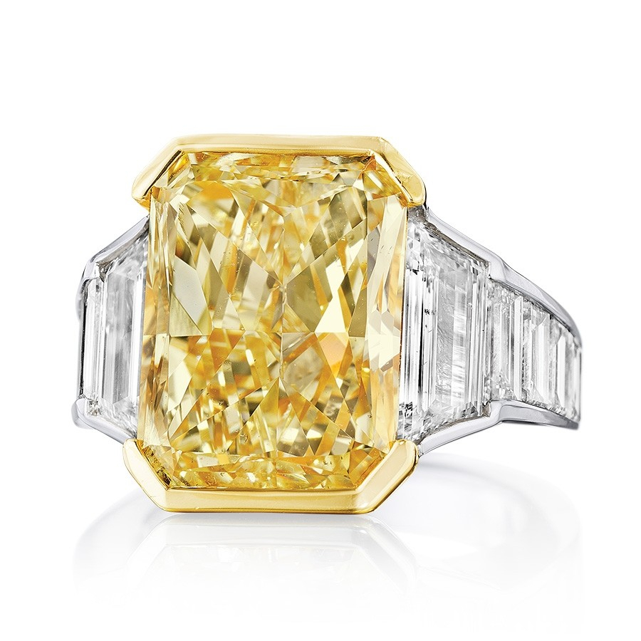 Platinum Fancy Yellow Radiant Cut Diamond Channel Set Ring For Radiant Yellow Diamond Rings (View 9 of 25)
