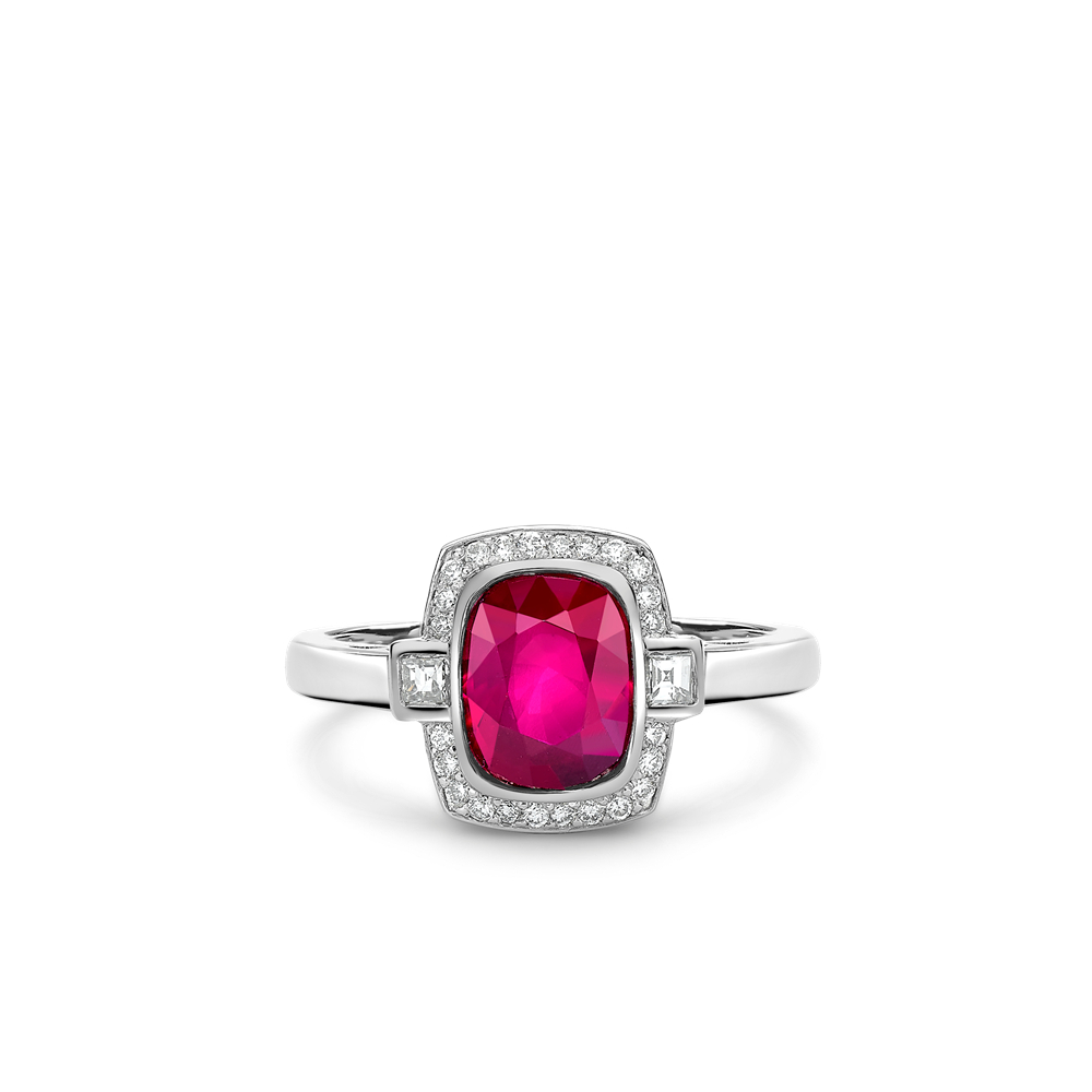 Platinum Mozambique Cushion Cut Ruby And Diamond Ring Intended For Cushion Cut Ruby Rings (View 25 of 25)