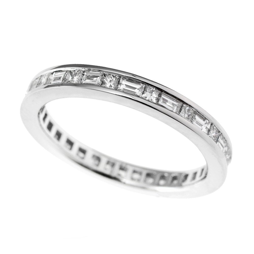Platinum Princess And Baguette Cut Diamond Eternity Ring With Current Channel Set Round Brilliant And Baguette Cut Diamond Wedding Bands (View 20 of 25)
