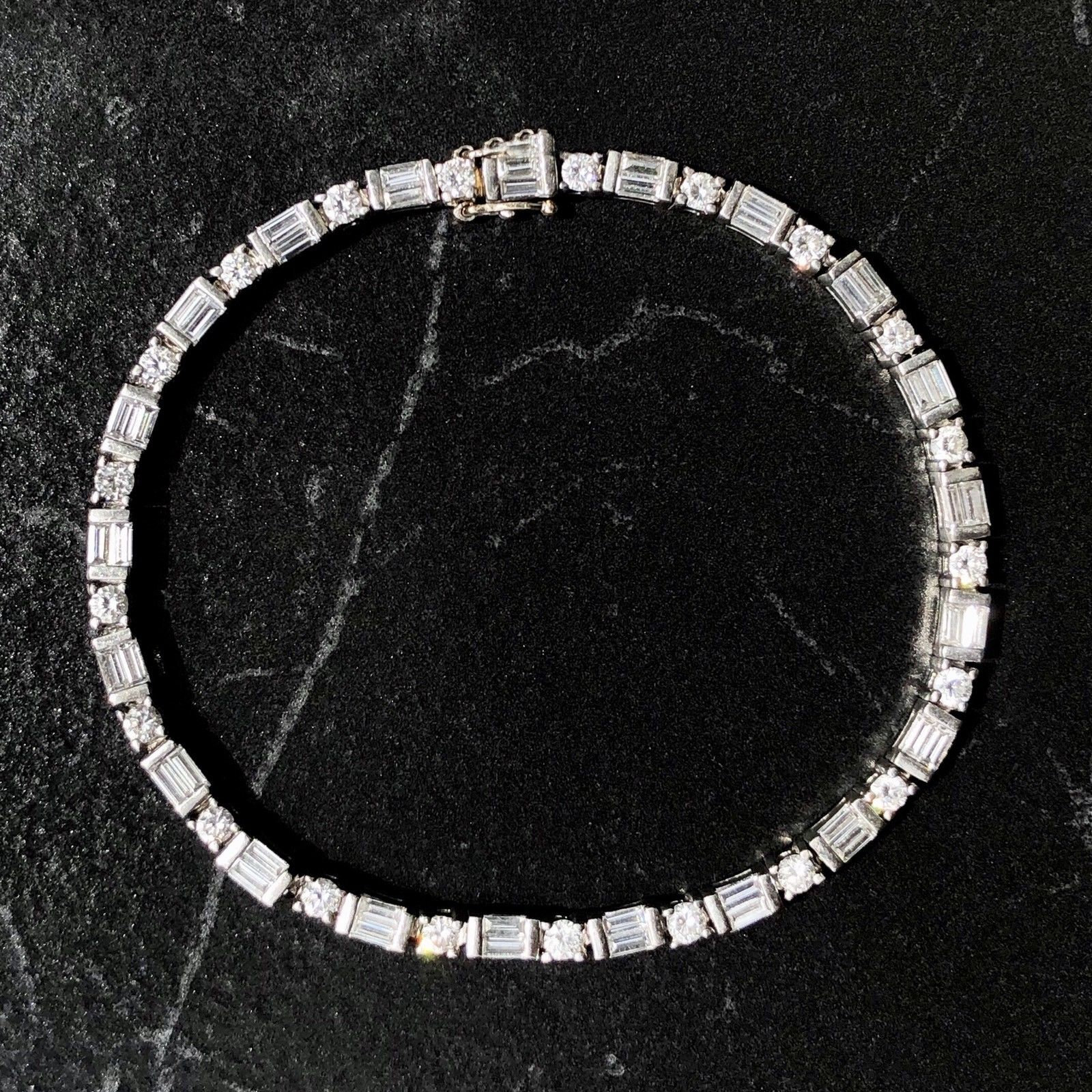 Platinum Round & Baguette Diamond Vintage Tennis Straight Line Bracelet (View 21 of 25)