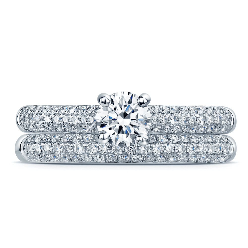Platinum Round Brilliant Diamond Engagement Ring With Pave Shoulders And Pave Half Diamond Wedding Ring Bridal Set With Regard To Round Brilliant Diamond Micropavé Engagement Rings (View 17 of 25)