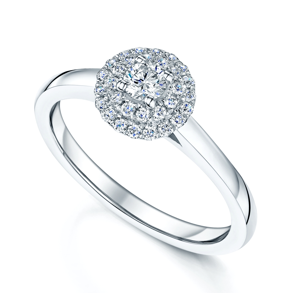 Platinum Round Brilliant Double Halo Diamond Engagement Ring With Regard To Round Brilliant Diamond Engagement Rings (Gallery 22 of 25)