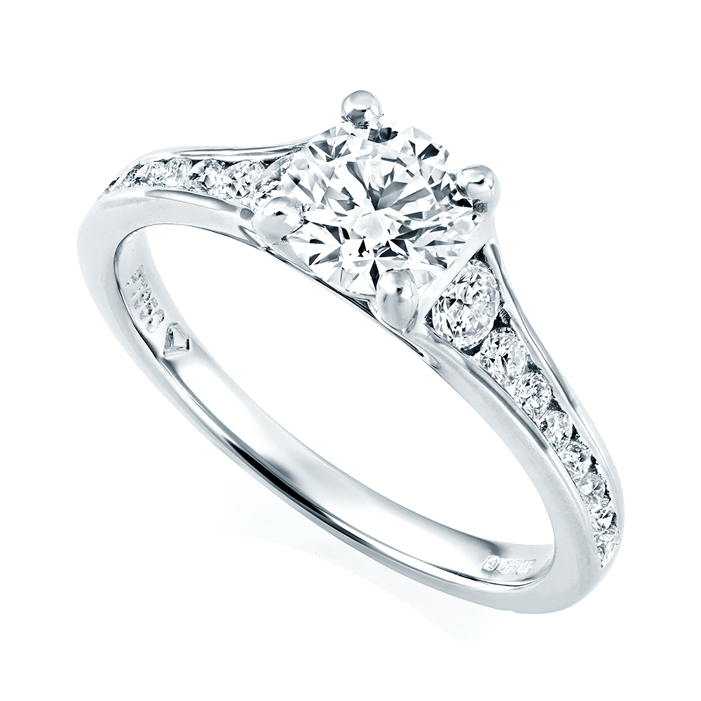 Platinum Set Brilliant Cut Diamond Engagement Ring With Channel Set Diamond  Shoulders Within Brilliant Love Diamond Engagement Rings (Gallery 19 of 25)
