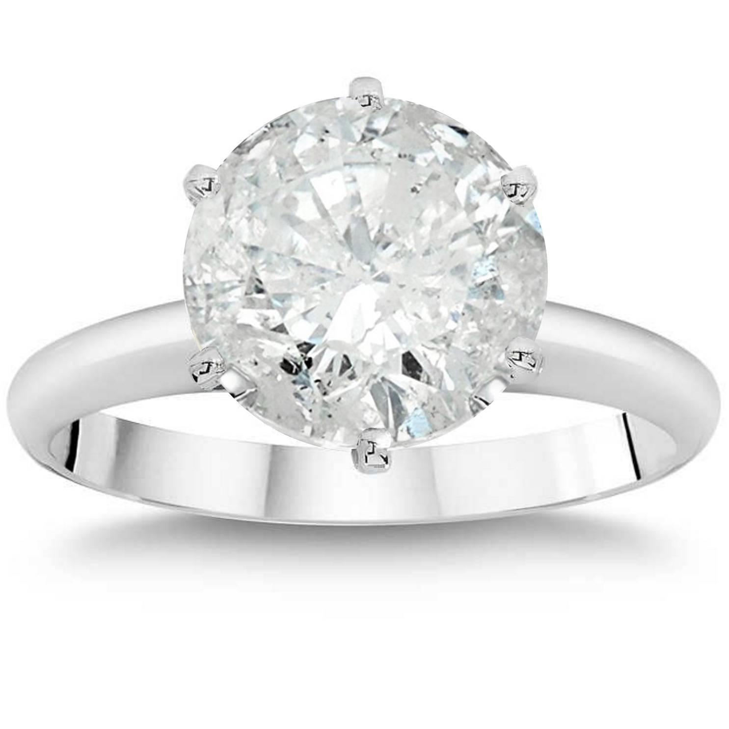 Pompeii3: 3Ct Round Brilliant Diamond Solitaire Engagement Ring 14K White  Gold Enhanced | Rakuten Within Round Brilliant Diamond Engagement Rings (View 17 of 25)
