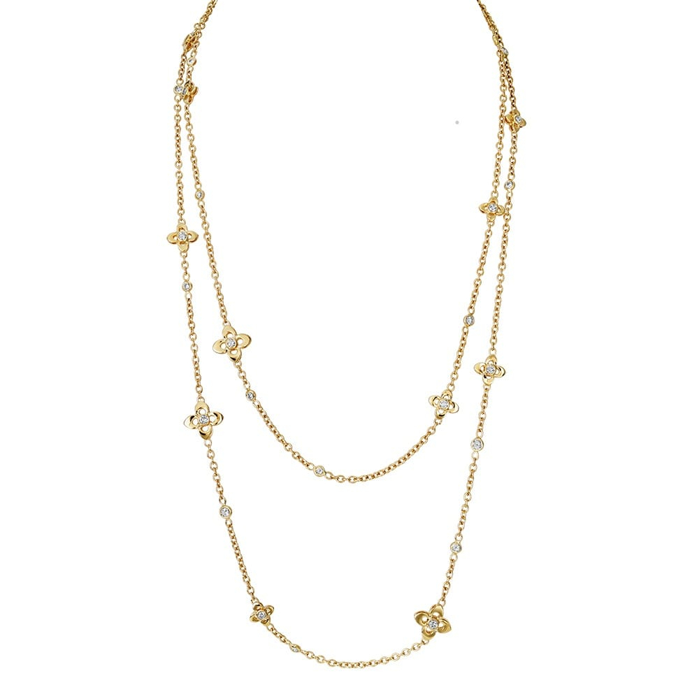 Primavera 18ct Yellow Gold Yellow Diamond Set Sautoir Necklace Pertaining To Most Current Yellow Gold Diamond Sautoir Necklaces (View 5 of 25)